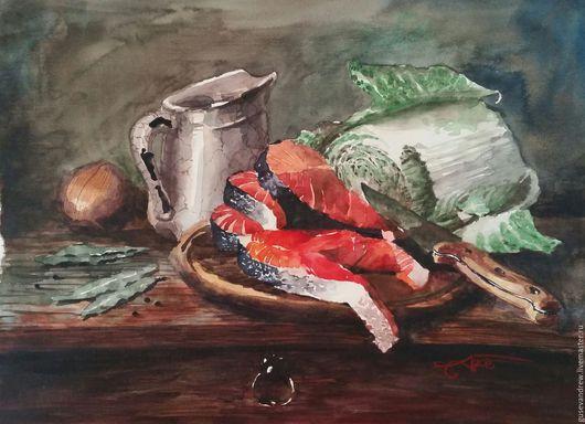"""Город ручной работы. Ярмарка Мастеров - ручная работа. Купить Акварель """"Натюрморт с лососем"""". Handmade. Разноцветный, картина акварелью, капуста"""
