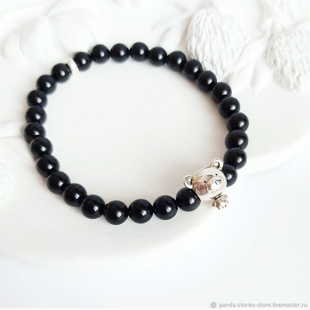 Bracelet 'Mishka', agate, silver, Bead bracelet, Moscow,  Фото №1