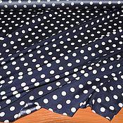 Ткани ручной работы. Ярмарка Мастеров - ручная работа Крепдешин шелковый белые горохи на синем. Handmade.