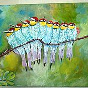 Картины и панно ручной работы. Ярмарка Мастеров - ручная работа Птичек дружная семья. Картина акрилом. Handmade.