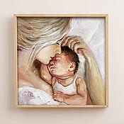 Картины и панно handmade. Livemaster - original item Mom and baby, oil painting on canvas, 30h30cm, love. Handmade.