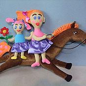 Куклы и игрушки ручной работы. Ярмарка Мастеров - ручная работа Мама с дочкой на коне по рисунку ребенка. Handmade.