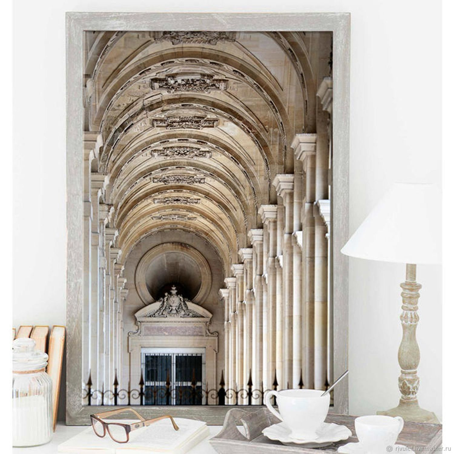 Photo painting architecture of Paris, Louvre for living room interior beige, Fine art photographs, Moscow,  Фото №1