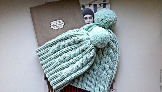 Шапки и шарфы ручной работы. Ярмарка Мастеров - ручная работа. Купить Вязаные шапочки. Handmade. Мятный, орнамент, шапка вязаная