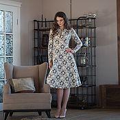 Платье из кружева на ангоре с капелькой (молочн.с серым.цветами) look