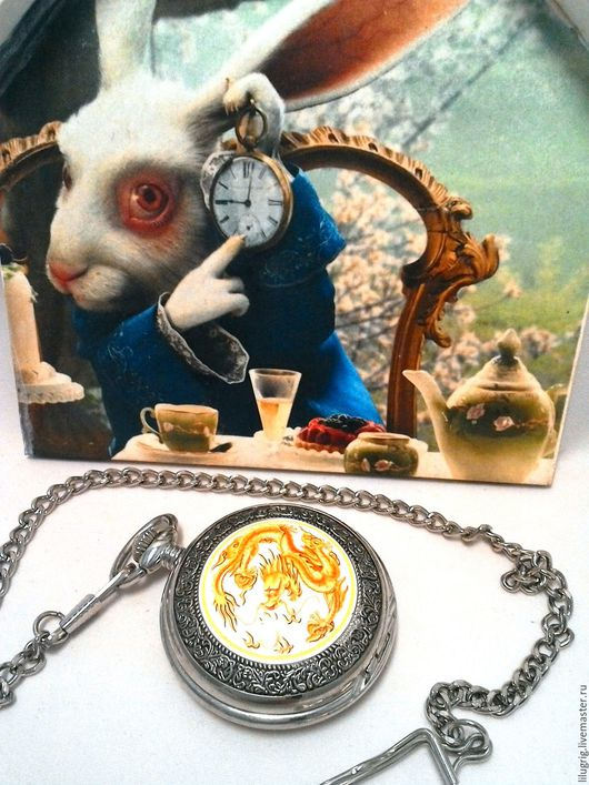 """Часы ручной работы. Ярмарка Мастеров - ручная работа. Купить Часы карманные """"Жёлтый дракон"""". Handmade. Часы, часы с драконом"""