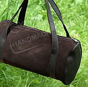 Сумки и аксессуары handmade. Livemaster - original item The cylinder bag made of genuine leather and suede Chocolate. Handmade.