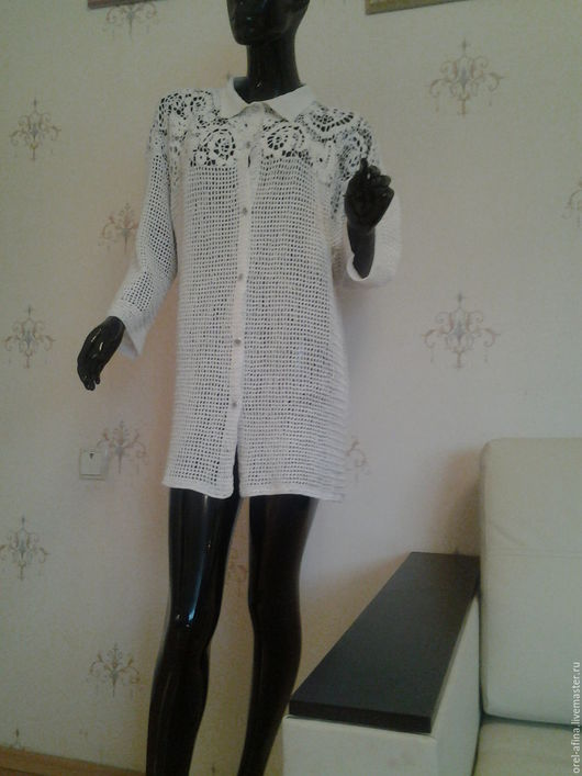 Блузки ручной работы. Ярмарка Мастеров - ручная работа. Купить Вязаная рубашка унисекс Лето. Handmade. Белый, блузка из кружева
