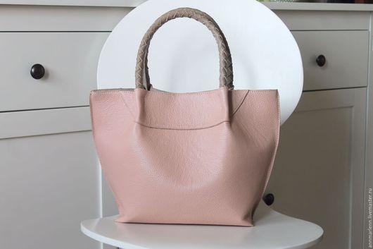Женские сумки ручной работы. Ярмарка Мастеров - ручная работа. Купить шоппер с плетеными ручками. Handmade. Бледно-розовый, шоппер