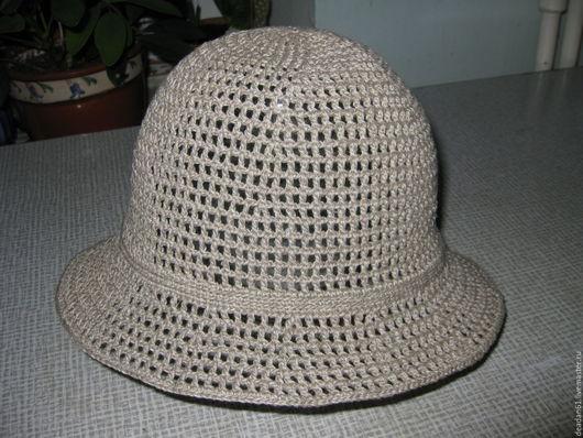 Шляпы ручной работы. Ярмарка Мастеров - ручная работа. Купить Шляпа летняя (лён). Handmade. Шляпка женская, шляпка крючком