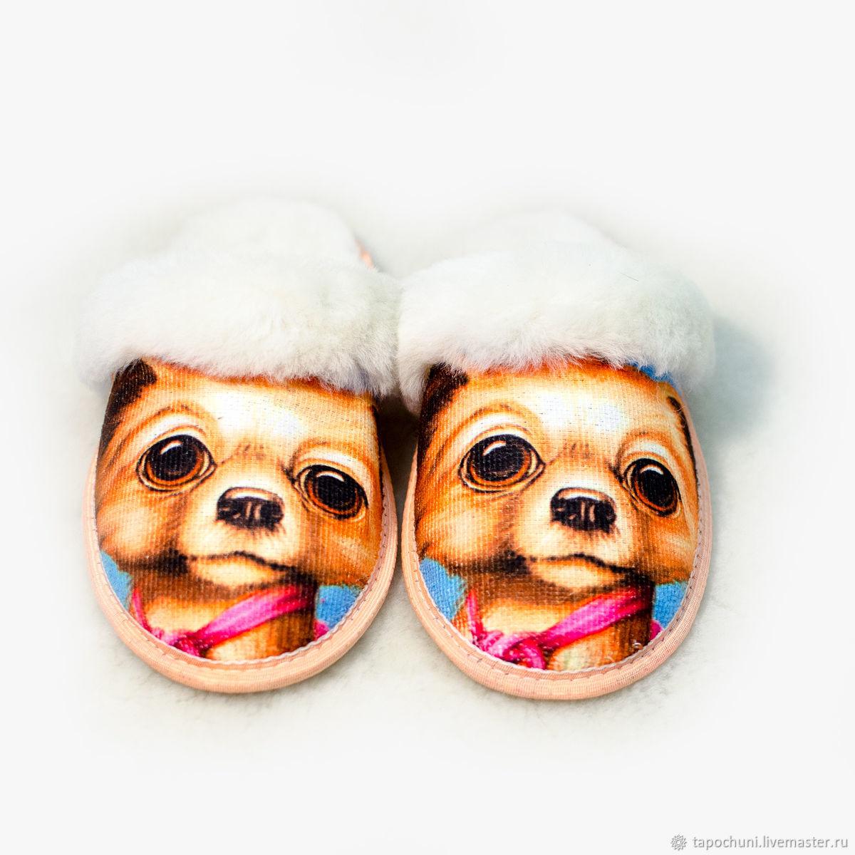Обувь ручной работы. Ярмарка Мастеров - ручная работа. Купить Тапочки «Новый год собаки» из овчины. Handmade. Новый Год