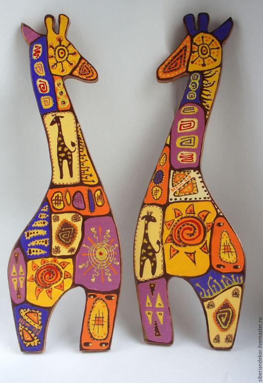 Подвески ручной работы. Ярмарка Мастеров - ручная работа. Купить Интерьерное украшение - Жирафы. Handmade. Комбинированный, акриловые краски и лак