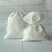 Материалы для творчества handmade. Livemaster - original item Bags, linen cotton, white, 8х10 cm.. Handmade.