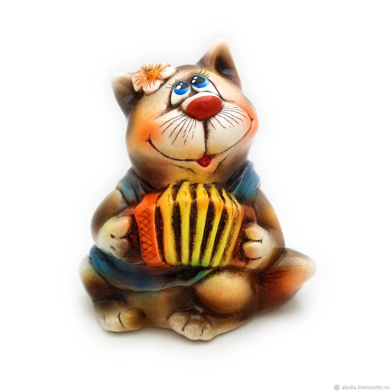 Ceramic statuette ' cat with accordion', Figurine, Balashikha,  Фото №1