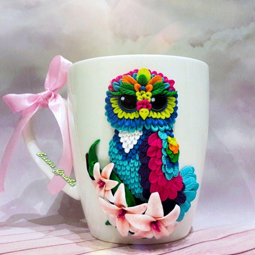 Кружка с совой из полимерной глины, Кружки и чашки, Рыбинск,  Фото №1