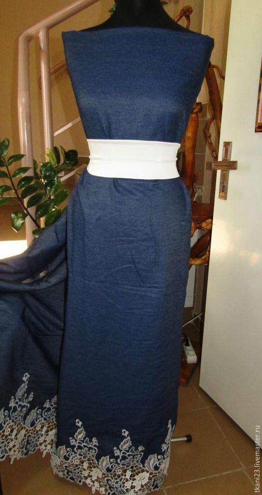 Шитье ручной работы. Ярмарка Мастеров - ручная работа. Купить Ткань джинсовая рубашечная купон мережка арт.68ДЖ-3(Китай)темно-синий.. Handmade.