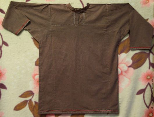 Для мужчин, ручной работы. Ярмарка Мастеров - ручная работа. Купить Рубаха коричневая. Handmade. Рубаха, рубин, коричневый