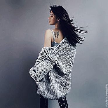 Одежда ручной работы. Ярмарка Мастеров - ручная работа Серый короткий кардиган женский вязаный. Handmade.