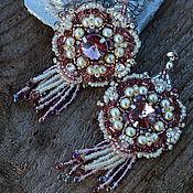 Украшения ручной работы. Ярмарка Мастеров - ручная работа серьги вышитые бисером с кристаллами Swarovski. Handmade.