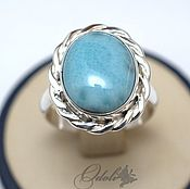 Украшения handmade. Livemaster - original item Silver 925 ring with larimar Twirl. Handmade.