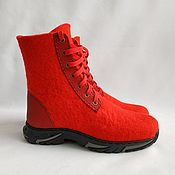 Обувь ручной работы handmade. Livemaster - original item Felted shoes with a running sole red. Handmade.