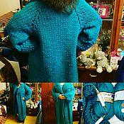 Одежда ручной работы. Ярмарка Мастеров - ручная работа Пальто оверсайз - толстая пряжа. вязаное спицами из морской волны :). Handmade.