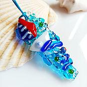 Украшения handmade. Livemaster - original item Pendant: made of art glass On the sea, fusing costume jewelry. Handmade.
