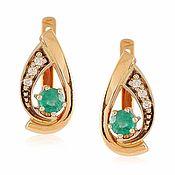 Украшения handmade. Livemaster - original item 585 gold earrings with natural emeralds and diamonds. Handmade.