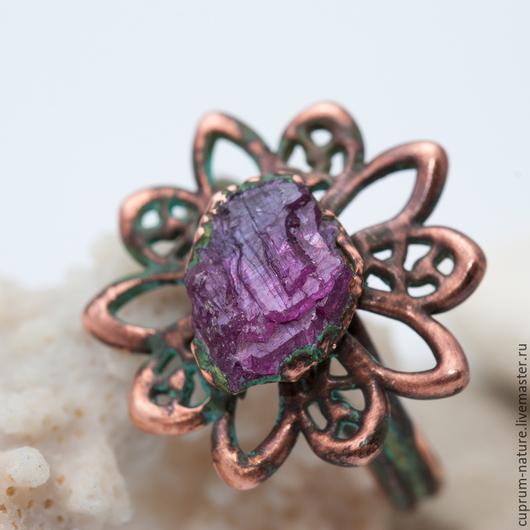 """Кольца ручной работы. Ярмарка Мастеров - ручная работа. Купить Кольцо """"Рубиновый цветок"""" (натуральные камни, рубин) 49/53. Handmade."""