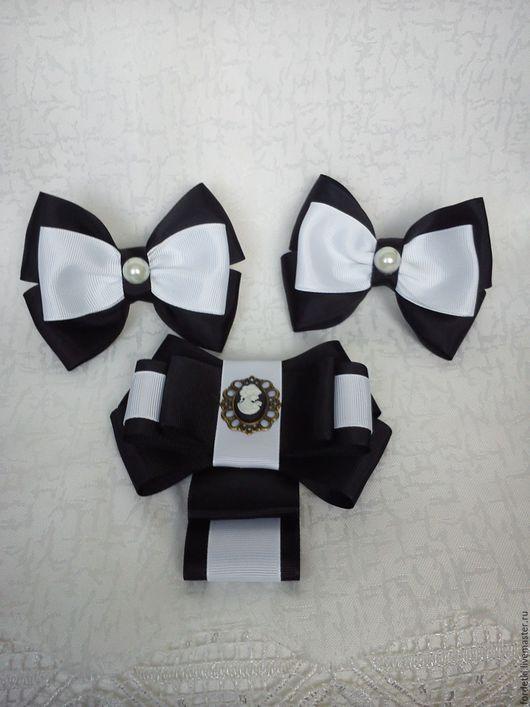 Детская бижутерия ручной работы. Ярмарка Мастеров - ручная работа. Купить Школьный комплект с галстуком. Handmade. Черно-белое, камея