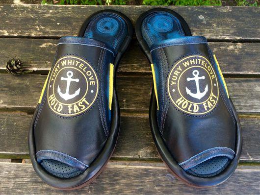 """Обувь ручной работы. Ярмарка Мастеров - ручная работа. Купить Кожаные тапочки """" Hold Fast""""- с якорем. Handmade. Тапочки"""