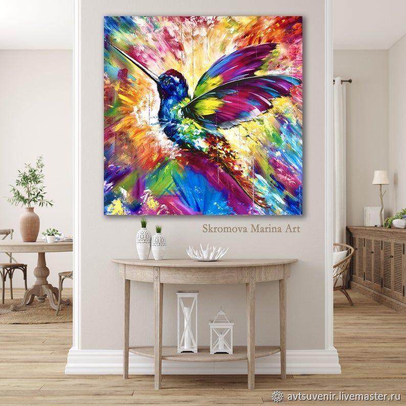 Картина авторская c колибри. Картина с райской птицей, Картины, Москва,  Фото №1