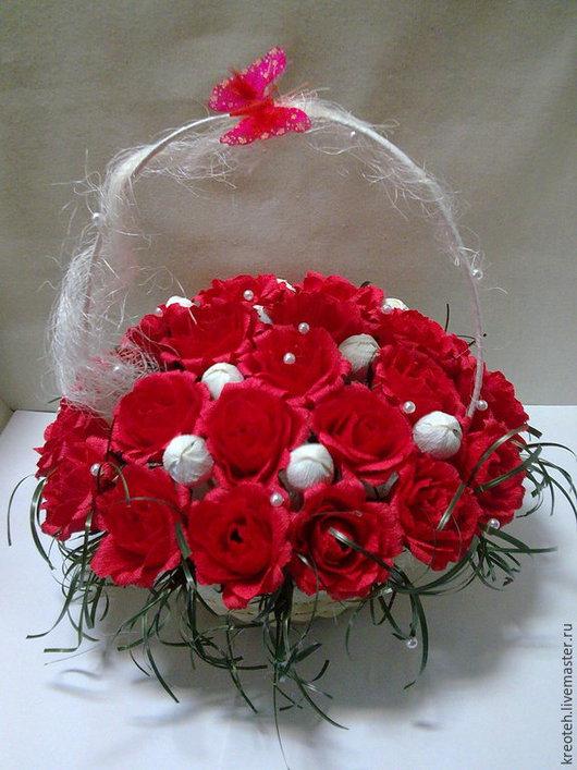 """Букеты ручной работы. Ярмарка Мастеров - ручная работа. Купить """"25 алых роз"""". Handmade. Ярко-красный, замечательный подарок"""