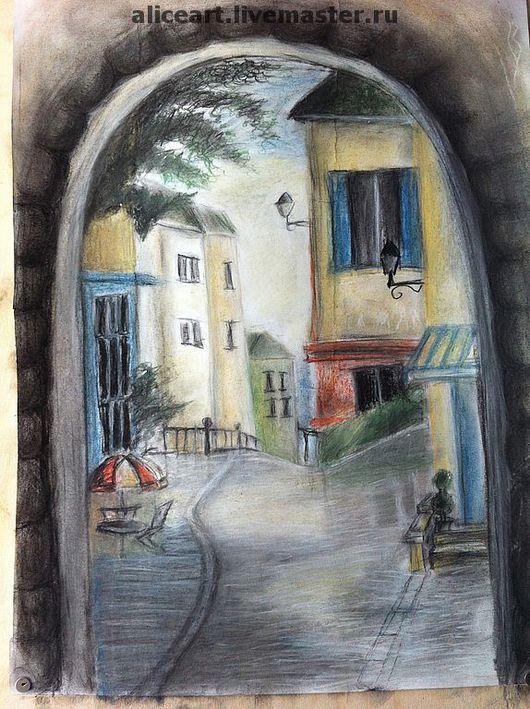 Пейзаж ручной работы. Ярмарка Мастеров - ручная работа. Купить улочка. Handmade. Пейзаж, картина пастелью, город, улочка, италия