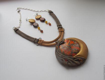комплект из кожи и камней - эксклюзивное украшение для стильных дам