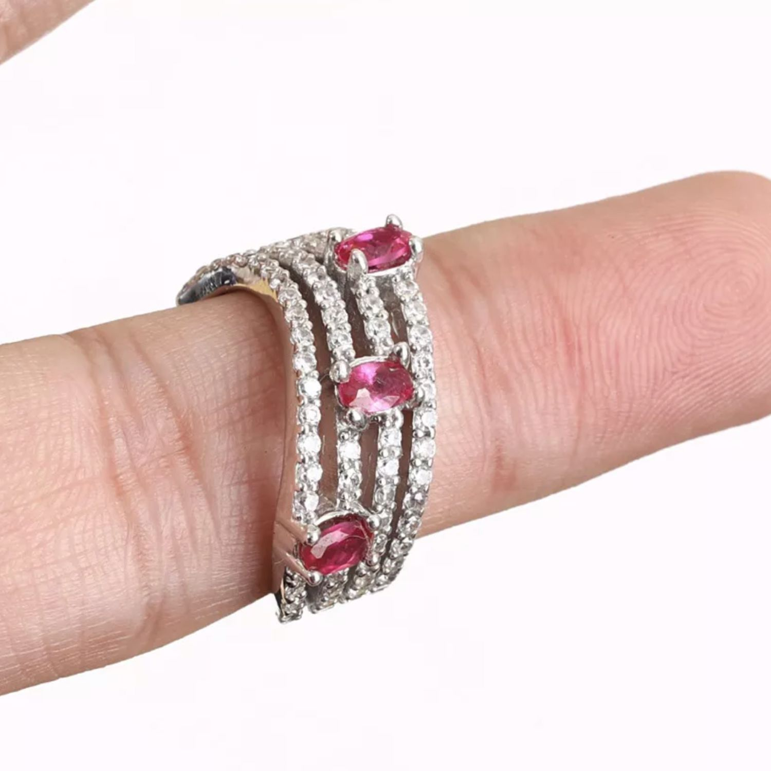 Stylish ring with cherry Rubies and white Topaz, silver, Rings, Volgograd,  Фото №1