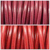 Шнуры ручной работы. Ярмарка Мастеров - ручная работа Шнур кожаный красные цвета, 5 мм. Handmade.