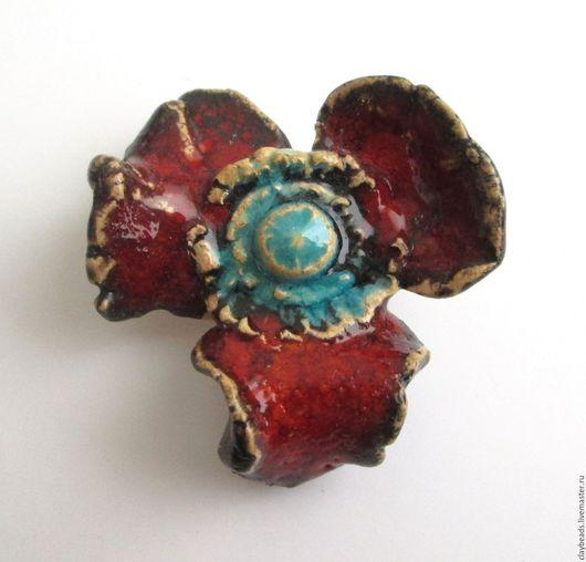 Керамические броши ручной работы Claybeads.Агния Красные-прекрасные, керамические маковые броши Мак первый