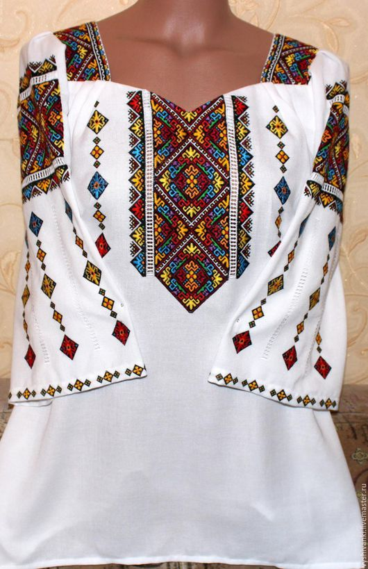 """Этническая одежда ручной работы. Ярмарка Мастеров - ручная работа. Купить Женская вышитая рубашка """"Низь цветная"""". Handmade. Белый"""