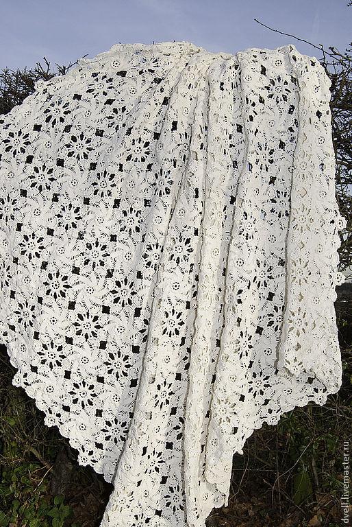 Текстиль, ковры ручной работы. Ярмарка Мастеров - ручная работа. Купить Покрывало, Кружево весеннего цвета. Handmade. Кремовый, хлопок