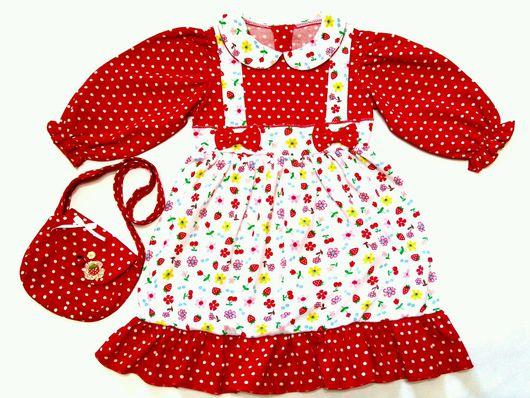 """Одежда для девочек, ручной работы. Ярмарка Мастеров - ручная работа. Купить Комплект для девочки """"Ягодка"""". Платье и сумочка.. Handmade."""