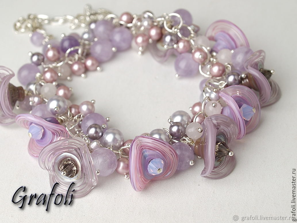 Short necklaces with pearls and earrings lavender bells, Necklace, Moscow,  Фото №1