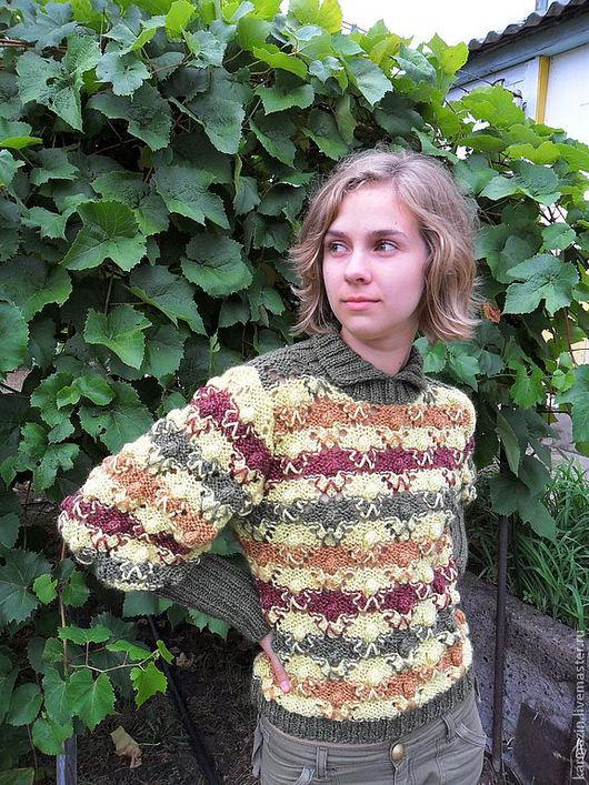 Кофты и свитера ручной работы. Ярмарка Мастеров - ручная работа. Купить Джемпер Осенняя мозаика. Handmade. Джемпер женский, желтый