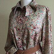 Одежда ручной работы. Ярмарка Мастеров - ручная работа Блуза-рубашка 2032 шерсть с шелком. Handmade.