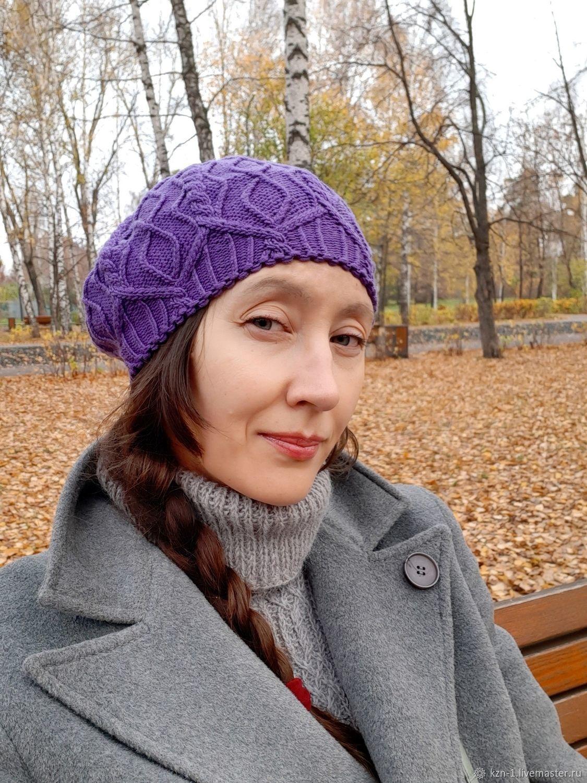 Women knitted beret Bela lilac Merinos, Berets, Kazan,  Фото №1