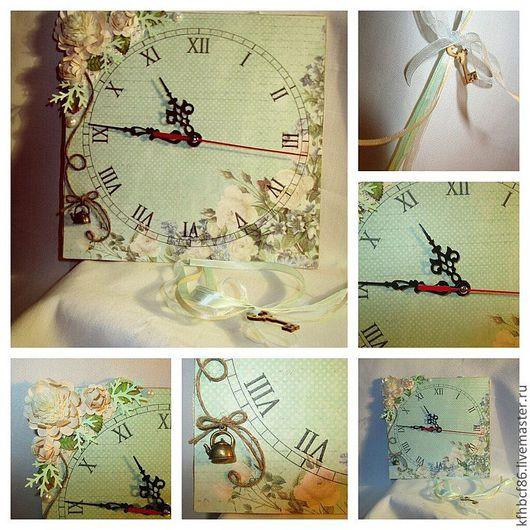 """Часы для дома ручной работы. Ярмарка Мастеров - ручная работа. Купить Часы """"Нежность"""". Handmade. Мятный, Скрапбукинг, интерьерное украшение"""