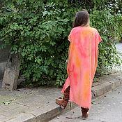 Одежда ручной работы. Ярмарка Мастеров - ручная работа Ручно-накрашенное льняное макси платье, туника, абайя, пончо, кафтан. Handmade.
