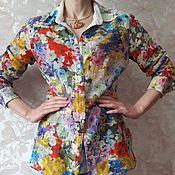 Одежда винтажная ручной работы. Ярмарка Мастеров - ручная работа Блузка шелк с хлопком. Handmade.