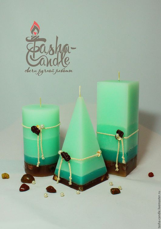 """Свечи ручной работы. Ярмарка Мастеров - ручная работа. Купить """"Секреты русалки"""" интерьерные свечи. Handmade. Мятный, мята, подарок"""