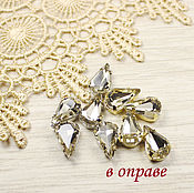 Материалы для творчества handmade. Livemaster - original item Drops 13h8 mm Yellow diamond gold and silver bows flatback. Handmade.